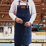 Delantal De Mezclilla, Monos De Delantal De Mezclilla De Moda De Trabajo Familiar Delantal Profesional De Chef De Cocina Azul Denim Con Bolsillos Para Herramientas + Hebilla De Liberación Rápida