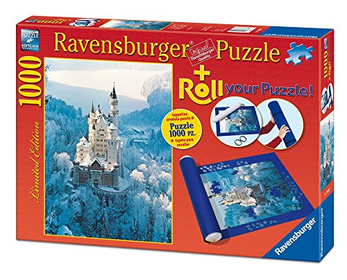 Ravensburger–Roll Your Puzzle + Puzzle 1000Teile–Neuschwanstein im Winter (199082)