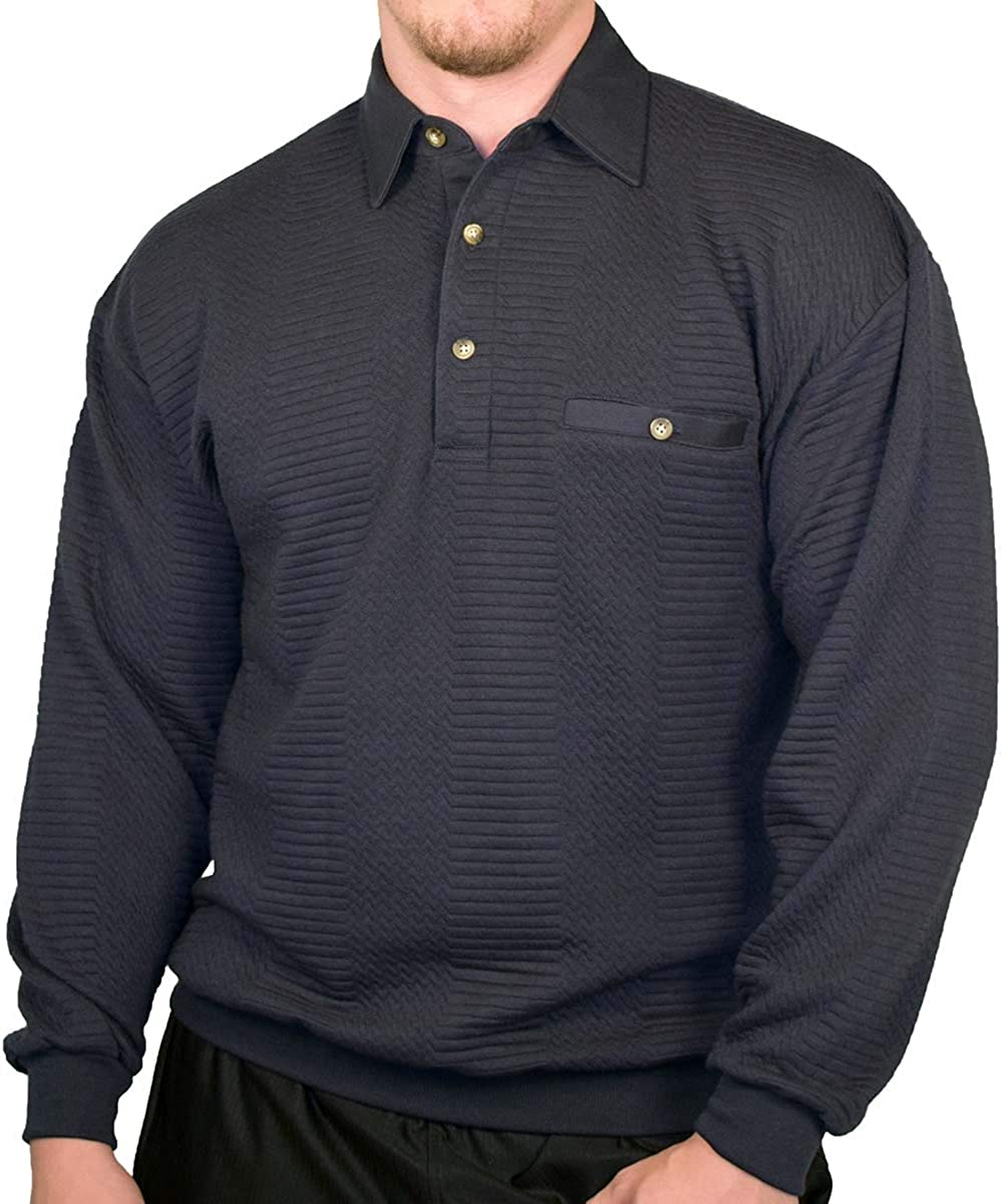 Palmland L/S Solid Textured Banded Bottom Shirt 6094-950 Big and Tall