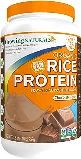 Growing Naturals Organic Rice Protein Powder, Chocolate, 952 Gram