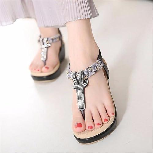 YMFIE Bohème Casual Mode Confortable Peep-Toe Sandales Dames été Strass Chaussures de Plage Anti-dérapant
