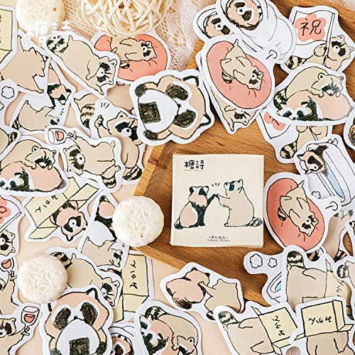 2020 New Cartoon Raccoon Stationery Sticker Handmade Label Delicate Shine Adhesive Scrapbooking Planner Diary Stickers