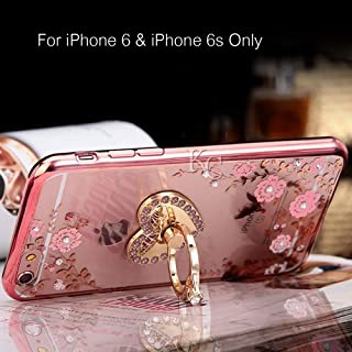KC Heart Ring Stand Laser Printed Flowers Soft Transparent Back Cover for iPhone 6 & iPhone 6s (Rose Gold)