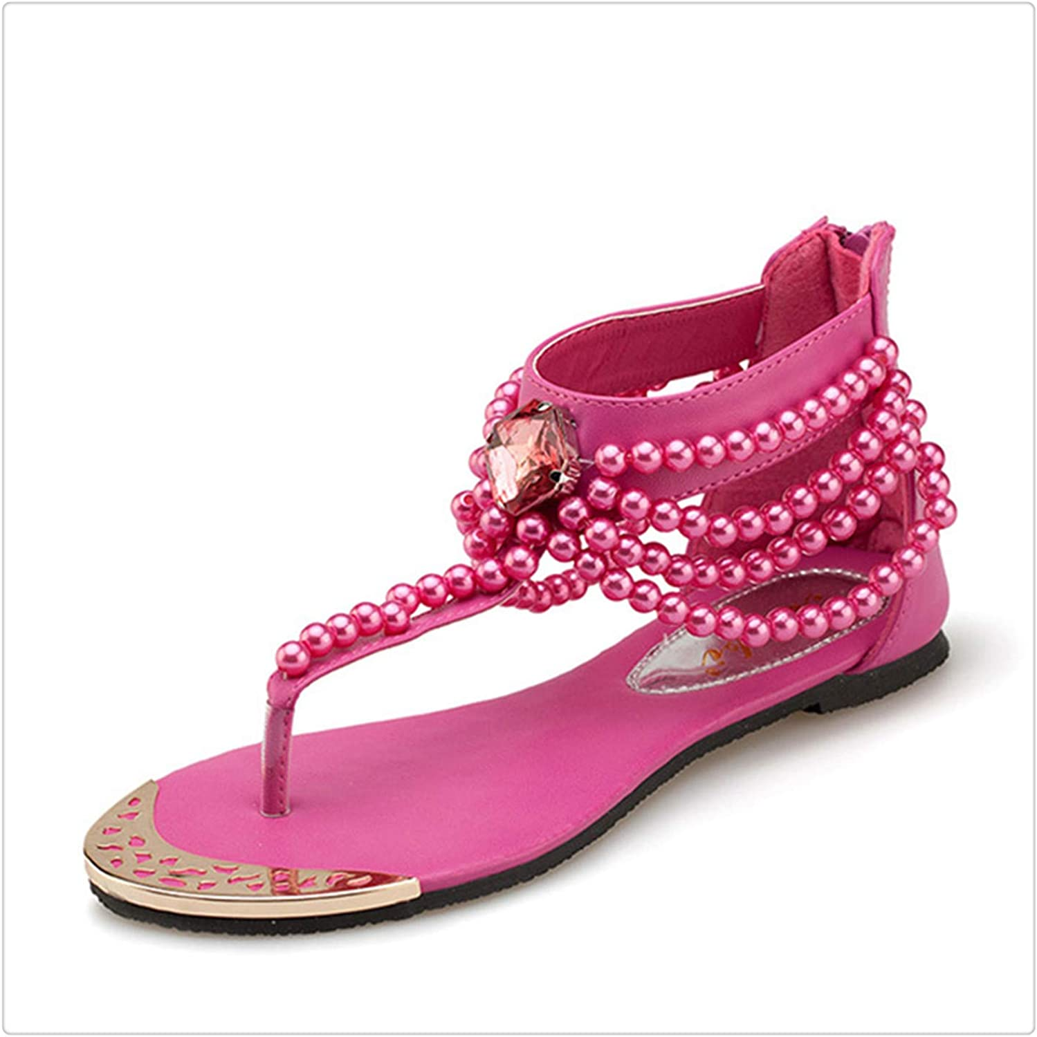 DOUSTY& Bling Sandals Women Ankle Strap Flip Flops shoes Rhinestone Pearl Casual Flats