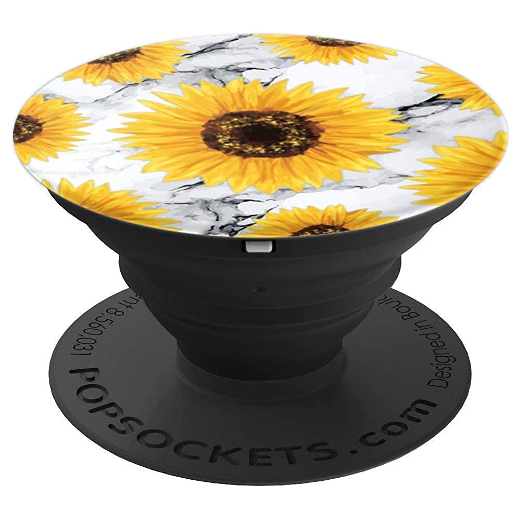 Pop Socket Sunflower White Marble Floral Pattern Chic Design - PopSockets Grip and Stand for Phones and Tablets hhcopuzhtx