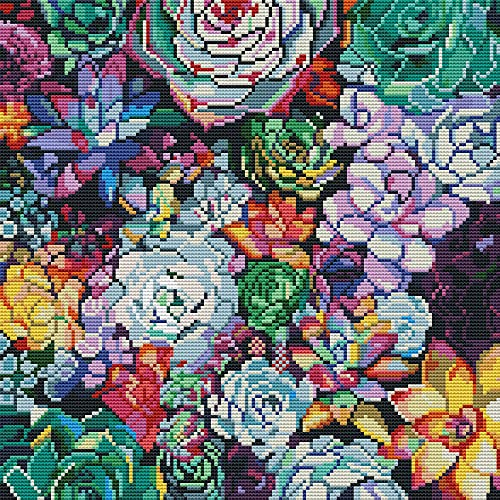 Cross Stitch Kits for Adults Beginner,Crossstitching Kits Colorful Succulents,DIY Art Crafts Sewing Needle Points Kit Stamped Embroidery,for Home Wall Decor16×16Inch
