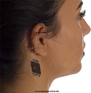 2 x ON-Off Schalter Tattoo - kleines Fun Tattoo in schwarz -