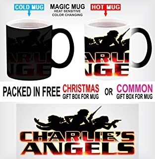 MAGIC COLOUR CHANGING HEAT SENSITIVE BLACK COFFEE MUG CHARLIE'S SPY ANGELS FOR CHRISTMAS GIFT WITH GIFT BOX OPTIONS K1 (With Christmas Gift Box)