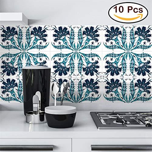 seaNpem Florencia - Adhesivo Decorativo para Azulejos .alwayspon para decoración del hogar, Adhesivo para Azulejos, 10 Unidades, Ts053, 6 * 6inch