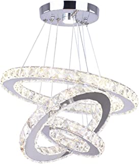 Dixun LED Chandeliers 3 Rings LED Ceiling Lighting Fixture Modern Crystal Chandeliers Adjustable Stainless Steel Pendant Light for Bedroom Living Room Dining Room(Changeable Color)