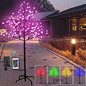 5 Feet 128 LED Cherry Blossom Tree Light-RGB with Remote Control, Color-Changing Lighted Artificial Flower Bonsai Tree Lamp Modern Home Decor – Lit Tree Centerpieces Indoor Christmas Decor