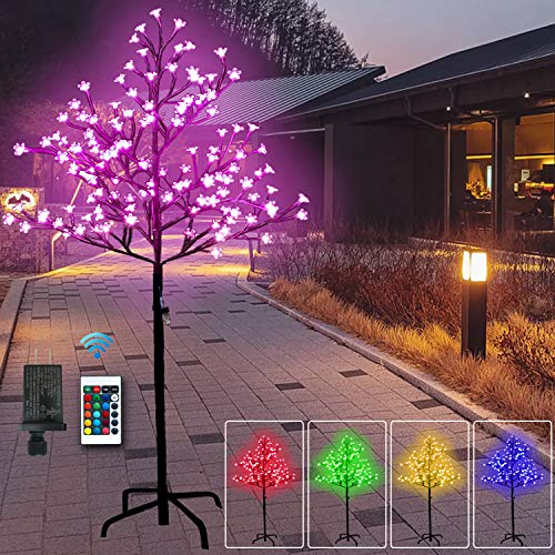 5 Feet 128 LED Cherry Blossom Tree Light-RGB with Remote Control, Color-Changing Lighted Artificial Flower Bonsai Tree Lamp Modern Home Decor - Lit Tree Centerpieces Indoor Christmas Decor