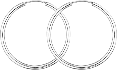 EDELWEISS Orecchini a Cerchio di 20 mm realizzati in oro bianco 585 a 14 carati, spessore 2 mm, made in Germany