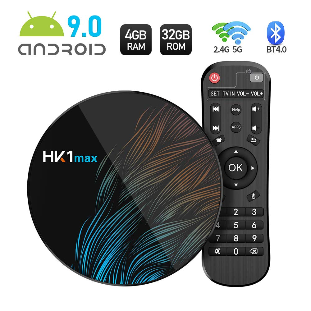 Sidiwen Android 9.0 TV Box HK1 MAX 4GB RAM 32GB ROM RK3318 Quad-Core Dual WiFi 2.4G/5G BT 4.0 Ethernet H.265 USB 3.0 Compatible con 3D 4K Ultra HD Smart TV Box: Amazon.es: