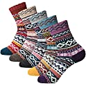 Gaojie 5-Pairs Womens Thick Knitted Wool Warm Socks