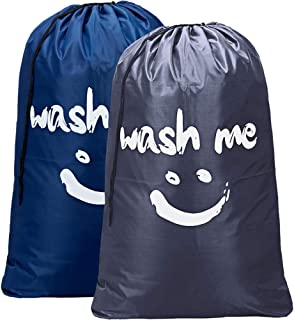 HOMEST 2 Pack XL Wash Me Travel Laundry Bag, Machine Washable Dirty Clothes Organizer, Large Enough to Hold 4 Loads of Laundry, Easy Fit a Laundry Hamper or Basket, Blue and Grey