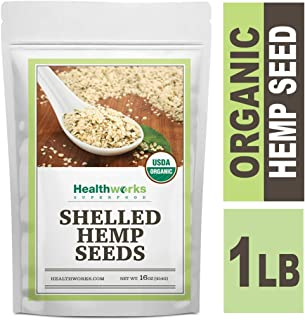 Healthworks Shelled Hemp Seeds Organic (16 Ounces / 1 Pound) | Premium & All-Natural | Canadian or European Sourced | Contains Omega 3 & 6, Fiber and Protein