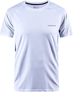 YAWHO Men's Sportswear Short Sleeve Sports T-Shirts Quick Dry Breathable Training Fitness Tee Shirts 1 to 4 Pack