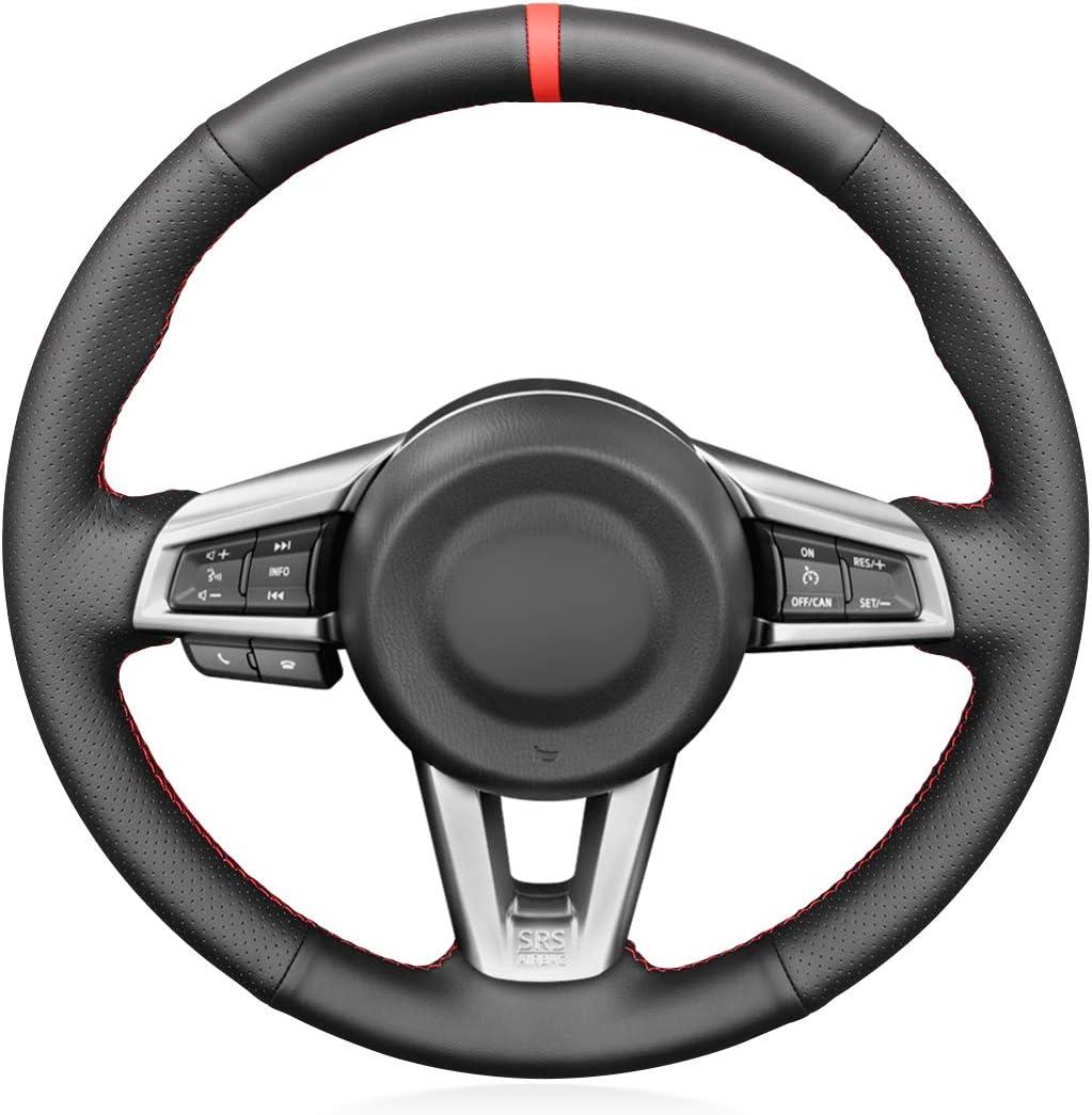 MEWANT Customized Hand-Stitch Black Leather Steering Wheel Car Super sale period limited C Sacramento Mall