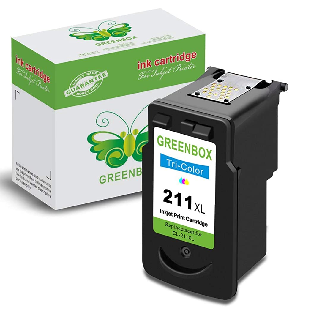 GREENBOX Remanufactured Canon CL-211XL 211 XL Ink Cartridge Used in PIXMA IP2702 MP495 MP490 MP250 MP280 MP260 MP480 MX340 MX410 MX420 MX330 MX350 Printer (1 Tri-Color)