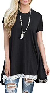 Womens Short Sleeve Summer Flowy A-Line Tunic T-Shirt High Low Lace Tops