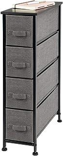 mDesign Cajonera de tela – Práctico mueble cómoda con 4 cajones – Estrecho sistema de almacenamiento para el dormitorio, la habitación o el lavadero – Armario con cajones – gris antracita