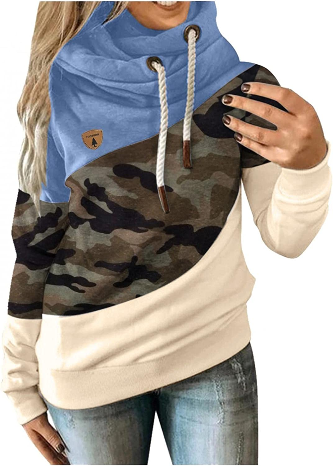 Womens Fashion Hoodie 1 year warranty Ranking TOP19 Casual Color Cowl Block Neck Sweats Hooded
