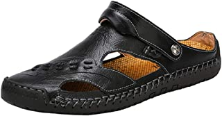 mixsnow Mens Leather Sandals Summer Casual Water Shoes Walking Outdoor Beach Travel Slippers