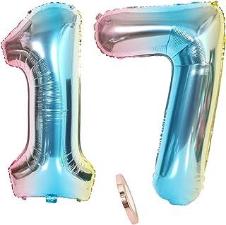 """globos numeros 17, globo número 17 arcoíris arco iris niña niño infantil,32"""" figuras helio inflable gigante grande iridiscentes de colores azul para decoración fiesta de cumpleaños 17 años (xxxl 80cm)"""
