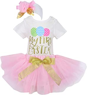 My First Easter Baby Girls Outfit Newborn Egg Romper+Tutu Dress Skirt Sets