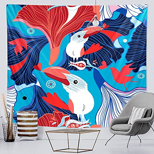 PPOU Tapiz de Escena psicodélica Familia de Animales Tapiz Art Deco Hippie Bohemio Fondo Tela Manta Tela Colgante A2 180x200cm