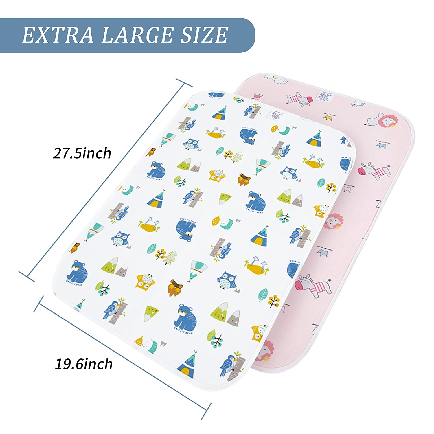 Catteyonce Diaper 2 Packs Changing Pad, Waterproof Portable Changing Mat Reusable, Perfect for Toddlers Infants and Newborns Boys Girls, Extra Large, 19.727.6 Inches