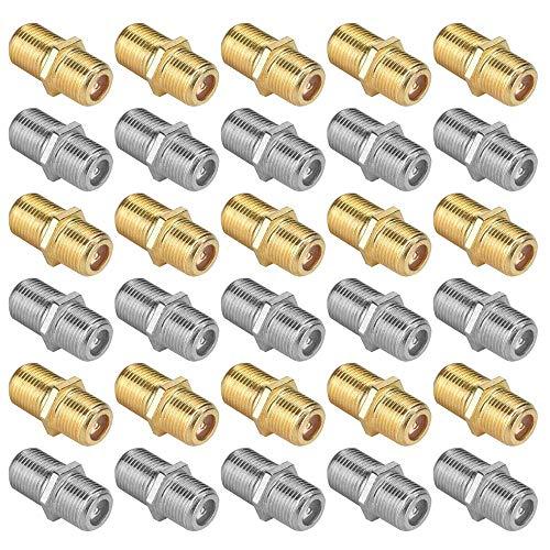 30 Conectores coaxiales Tipo F RG6, FineGood Hembra a Hembra Adaptador acoplador – Oro, Plata