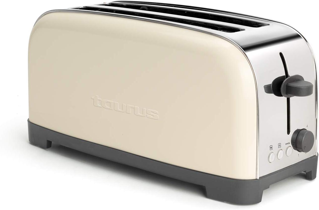 Taurus Vintage Cream Tostadoras, 1400 W, Acero Inoxidable, Único