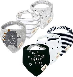 Minizone 6 Pack Baby Dreieckstuch Babylätzchen Baumwolle Bandanas Einstellbar Spucktuch Super Saugfähig Halstücher 0-36 Monate, Mehrfarbig F, 0-3 Jahre