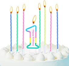 1st Rainbow Birthday Cake Numeral Candles Color Rainbow Cake Topper Candles Decoration and 12 Pieces Rainbow Spiral Cake C...