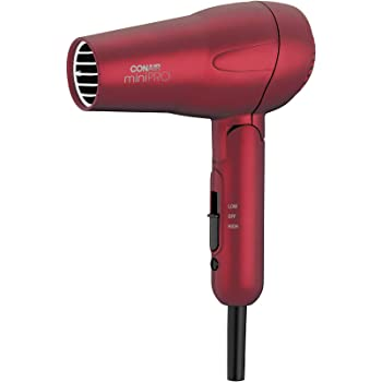 Conair miniPRO Tourmaline Ceramic Hair Dryer with Folding Handle, Travel Hair Dryer, Red (263SR)