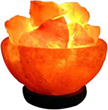A-Star - Himalayan Rock Salt Bowl Lamp with Salt Chips, Wood Base, Electric wire & Bulb