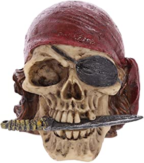 PANRODO Pirate Captain Statues Figurine Resin Stylish Gothic Halloween Decoration Skull Sculptures