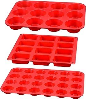 سیلیکون کلوچه پانل - قالب سیلیکون شامل مینی 24 فنجان ، 12 فنجان معمولی مافین تابه و 12 حفره مینی لوف تابه 100٪ سیلیکون درجه مواد غذایی ، ست 3 در 1 برای تخم مرغ کلوچه ، کیک ، کیک ، قهوه ای ، بمب چربی