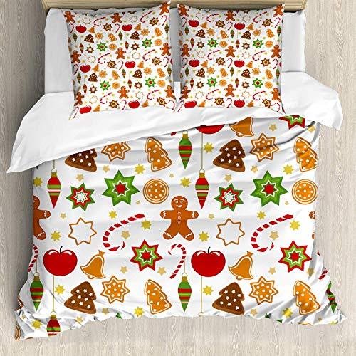 882 - Set di biancheria da letto, motivo natalizio con motivo di pan di zenzero, 3 pezzi, con 2 federe per cuscini, 155 x 220 cm, colore: arancione e rosso
