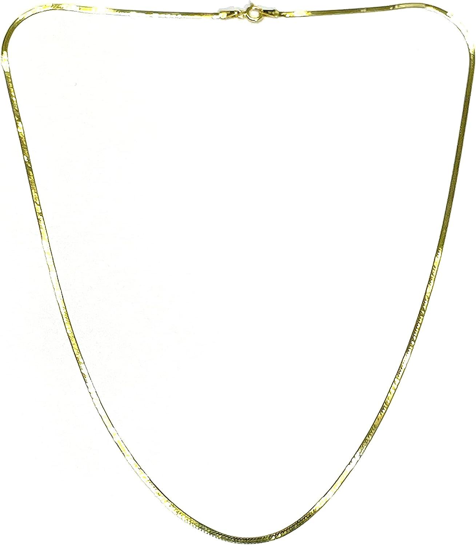 Solid 14K Yellow Gold Herringbone Necklace