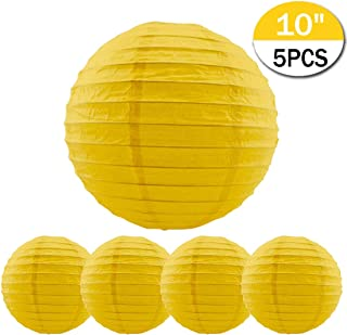 5 Packs Yellow Round Paper Lanterns Chinese Lanterns 10 inch Large Hanging Ball Decorations for Halloween Birthday Bridal Wedding Baby Shower Parties Assorted Sizes (Yellow, 10'')