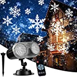 NUÜR Rotating Snowflake Christmas Projector Light with Wide Coverage & High Brightness for Indoor & Outdoor, Wireless Remote Control and Timer Function, Festive LED Light for Christmas Décor