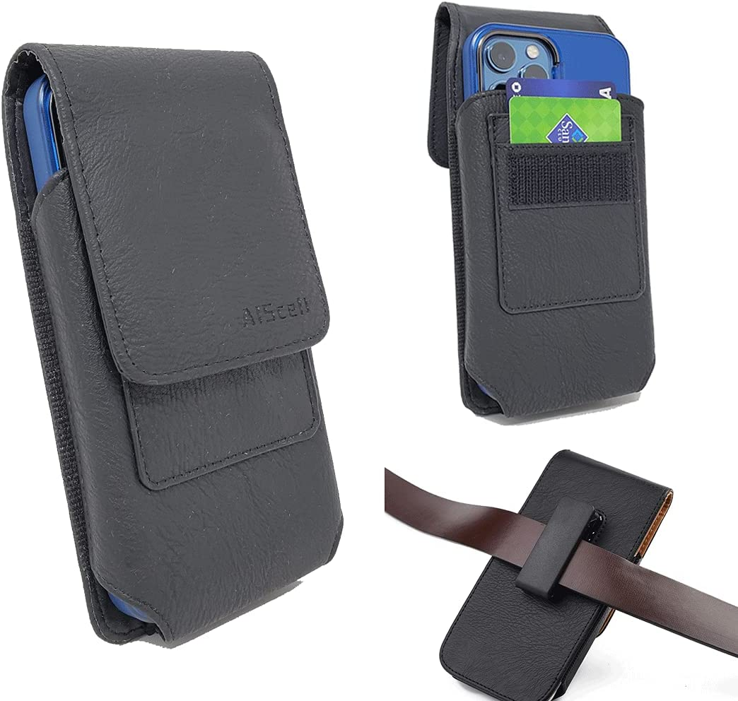 AIScell Vertical Wallet Case Black Leather Pouch Swivel Belt Clip Holster for Galaxy A12, A32, A42, A52, A02s, S21+,S21 Ultra, A11, A71, Note 10+,S20+, S20, A51, Note20 Ultra (Black L Size)