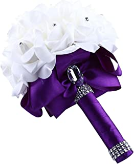 Miklan Crystal Roses Bridesmaid Wedding Bouquet Bridal Artificial Silk Flowers Purple