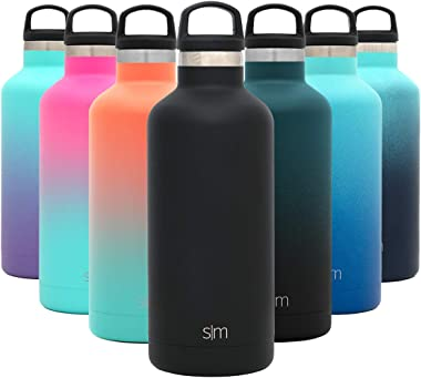 Simple Modern Insulated Water Bottle Reusable Ascent Narrow Mouth Stainless Steel Thermos Flask, 32oz Handle Lid, Midnight Bl