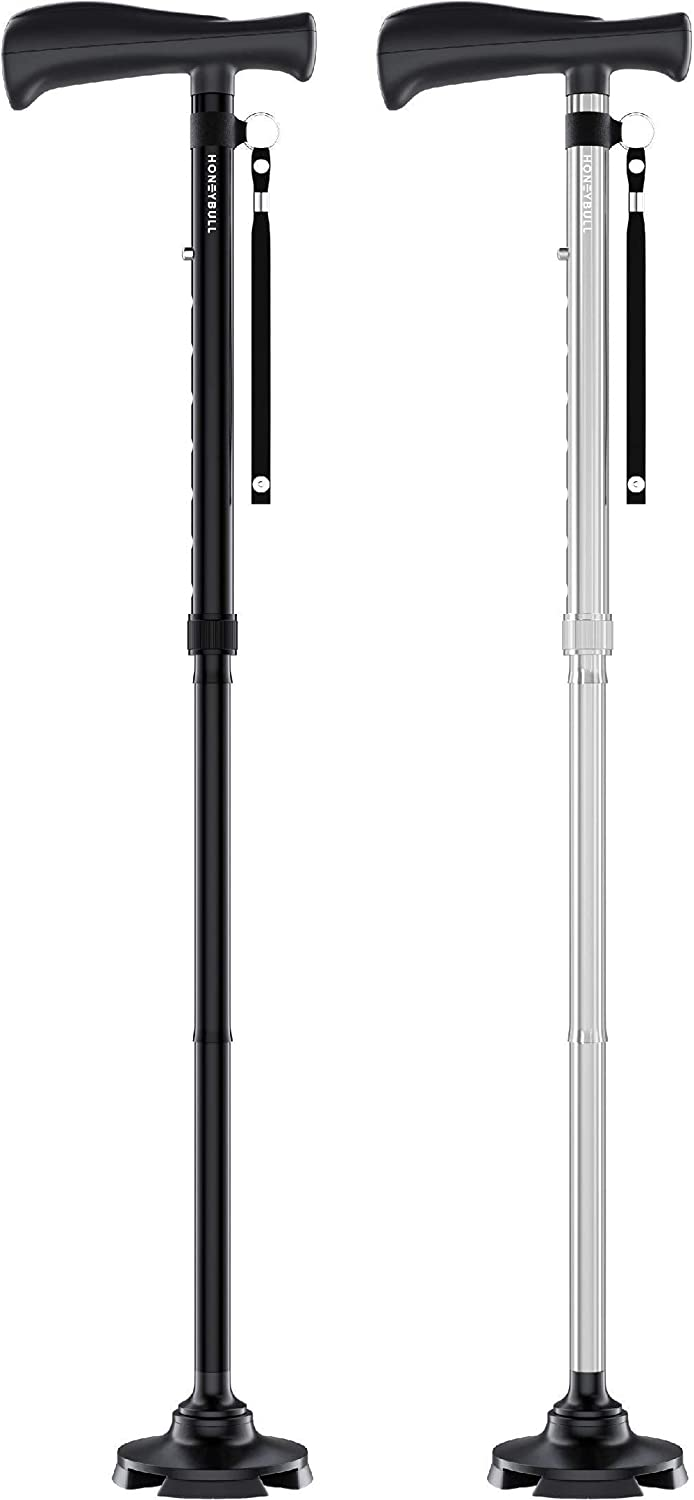 Free shipping HONEYBULL Walking Max 82% OFF Cane Double Silver Pack Black