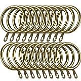 Shappy Anillos de Cortina de Metal Anillas Colgante para Cortina y Barras, Anillos de Ojal Drapeado Deslizante 30 mm de Diámetro Interno (Latón Verde, 40 Piezas)