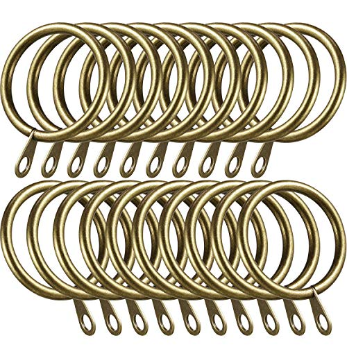 Shappy 40 Packs Metal Drapery Curtain Rings Hanging Rings for Curtains and Rods, Drape Sliding Eyelet Rings 30 mm Internal Diameter (Green Brass)